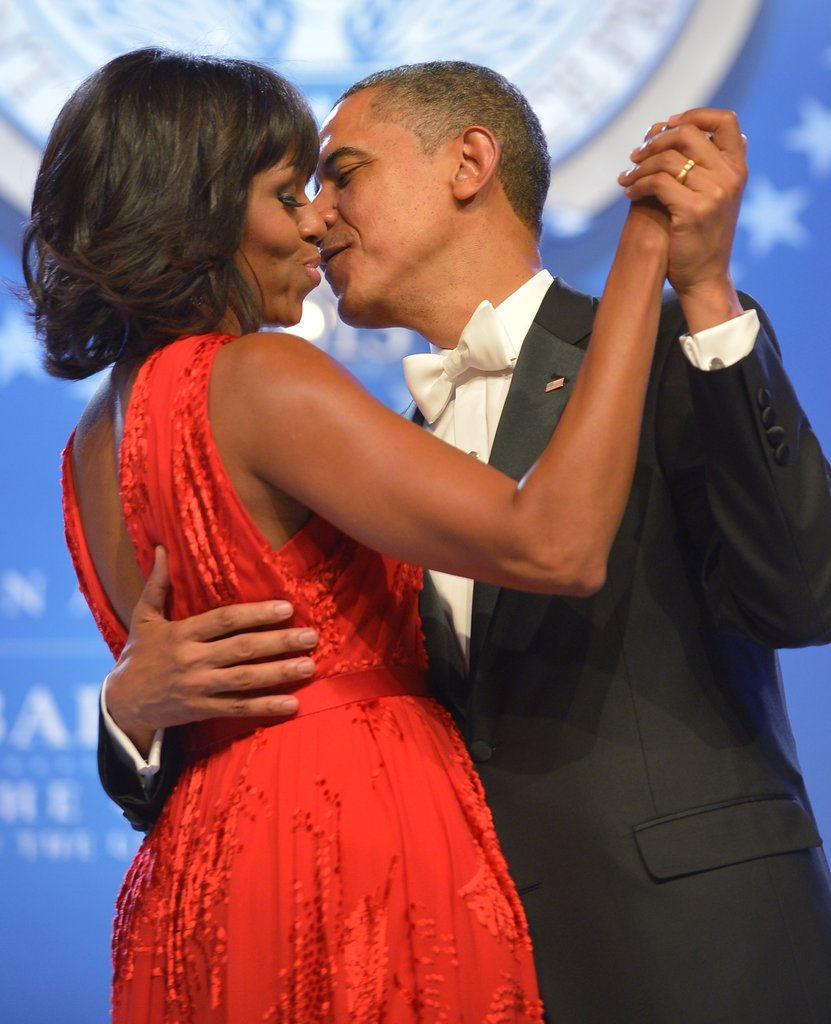 The couple danced close, and we got an extra-close look at the subtle velvet detailing all over Michelle Obama's Jason Wu dress.