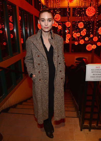 Rooney Mara's long knit coat lent a touch of texture to her all-black look.