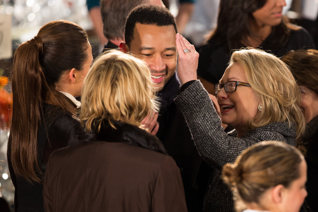 Hillary Clinton talked with Chrissy Teigen and John Legend at the inaugural luncheon.