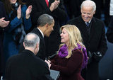 The president greeted Kelly Clarkson at the inauguration.