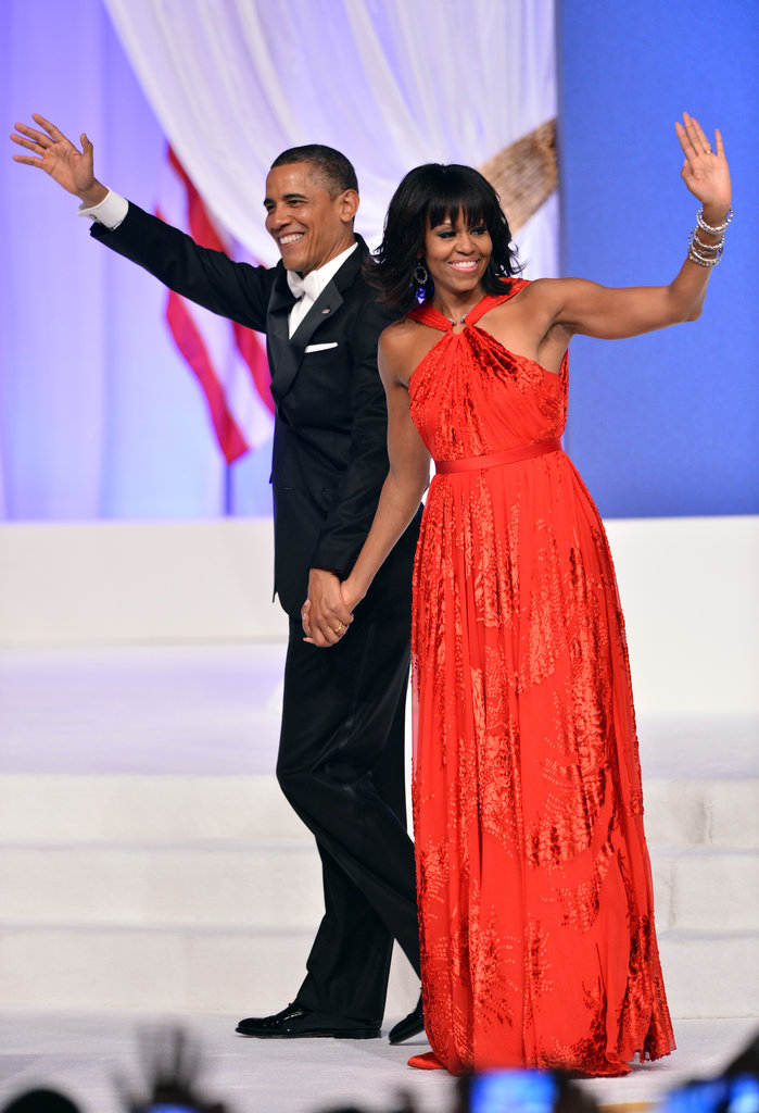 Barack Obama and Michelle Obama held hands at the Commander in Chief's Inaugural Ball.