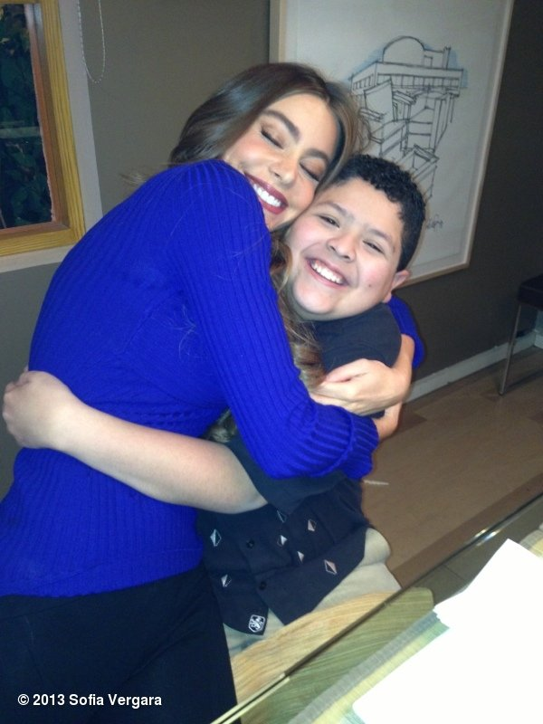 Sofia Vergara gave Rico Rodriguez a big hug. Source: Sofia Vergara on WhoSay