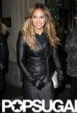 Jennifer Lopez wore a leather coat in NYC.
