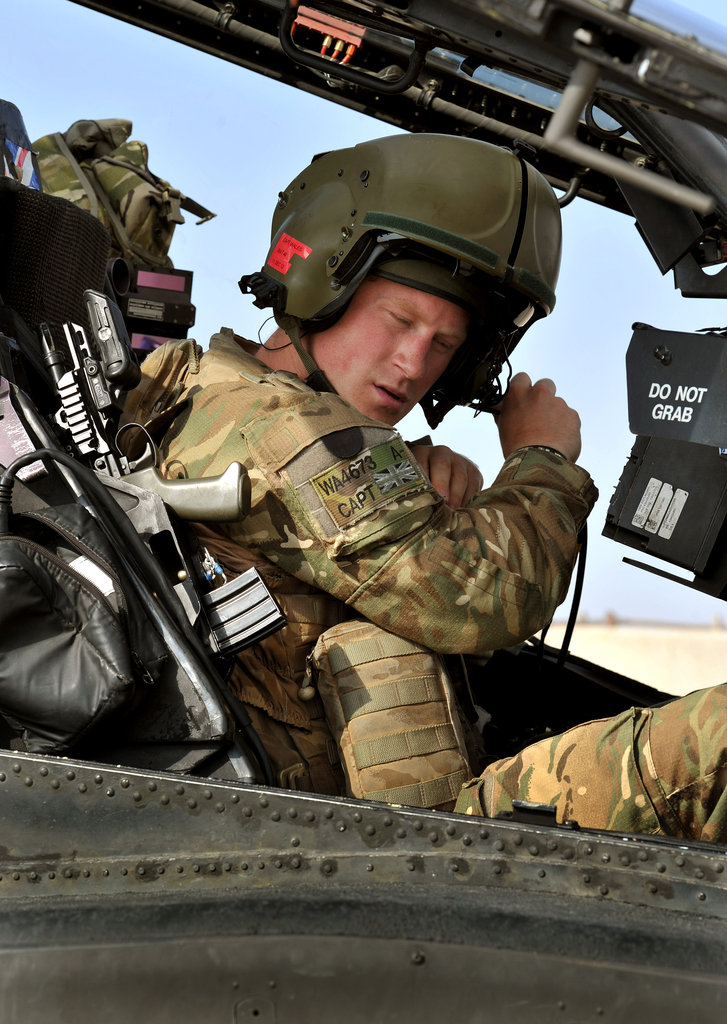 Prince Harry sat in the cockpit of an Apache helicopter in October.