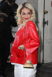 Rita Ora attracted attention in a bright red jacket at Chanel's show.