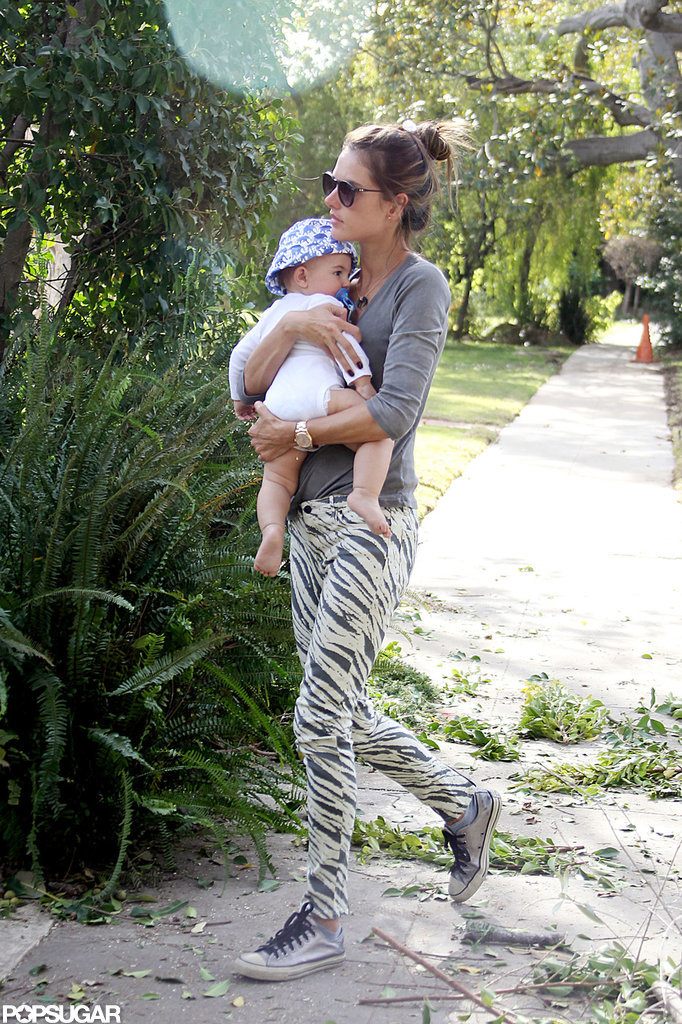 Alessandra Ambrosio walked with her son, Noah.
