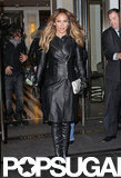 Jennifer Lopez bundled up in a black leather coat.
