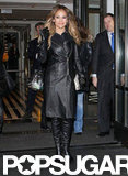 Jennifer Lopez emerged in a black leather coat and boots in NYC.