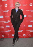 Pregnant Evan Rachel Wood looked menswear-chic in a pinstripe suit and worn-in leather boots at the premiere of The Necessary Death of Charlie Countryman.