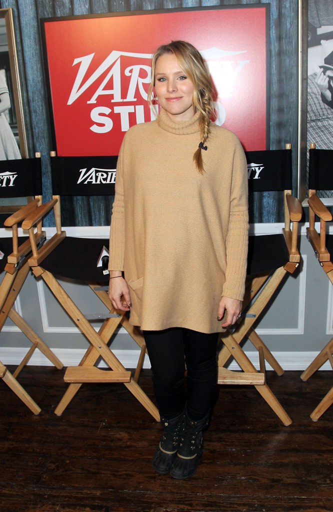 Kristen Bell stayed cosy in an oversize turtleneck and serious Winter boots.