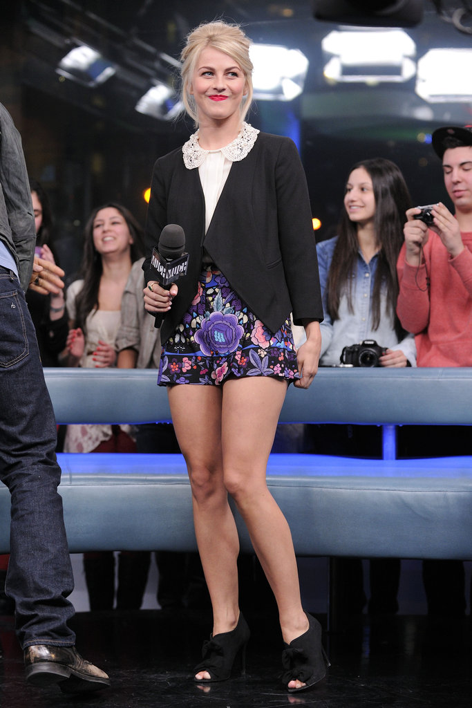 Julianne went for a more playful look — floral ASOS shorts, doily-collar Dolce & Gabbana blouse, black Etro blazer, and black peep-toe booties — while at the MuchMusic studios in Toronto.
