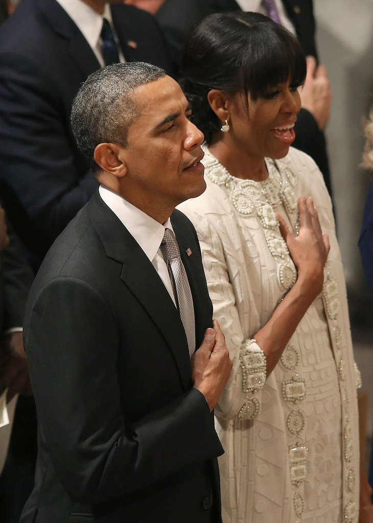 Michelle's printed dress and coat featured a beautiful embellished collar and sleeves.