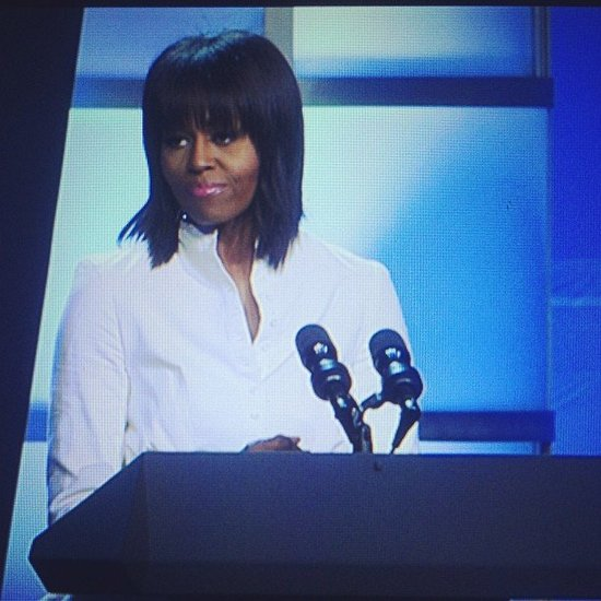 Michelle Obama looked fabulous while thanking military families. She said the Kids' Inaugural Concert was her favorite event of the weekend.