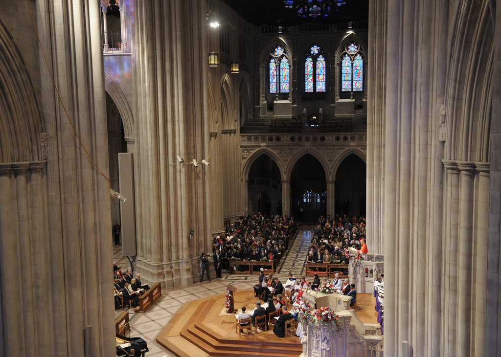 The Obamas attended the National Prayer Service at the National Cathedral.