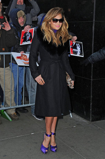 Jennifer Lopez sported a pair of purple heels with a black coat as she stopped by Good Morning American in NYC.