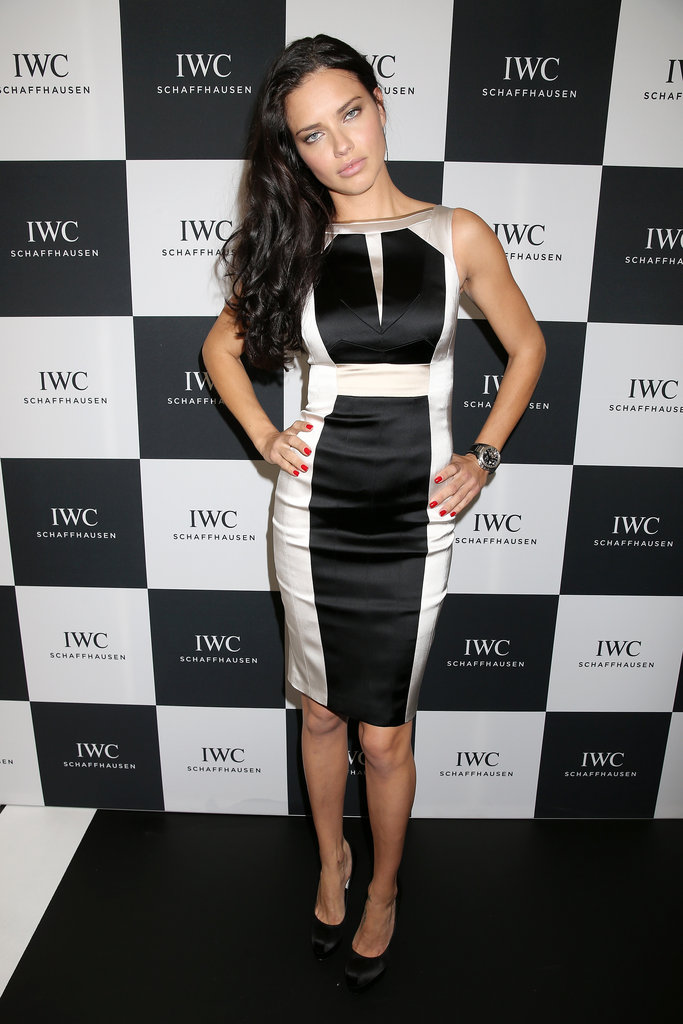 Adriana Lima wore a black-and-white dress at IWC's race night in Switzerland.