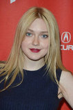 Dakota Fanning wore dark lipstick for the premiere in Park City.