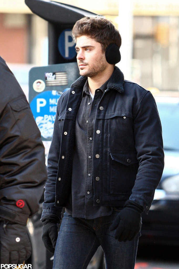 Zac Efron wore earmuffs in NYC.