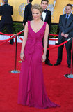 Diana Agron complemented her fuchsia Carolina Herrera gown with a braided updo.
