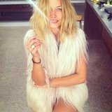 Lara Bingle wore a furry vest . . . and from the looks of it, not much else! Source: Instagram user mslbingle