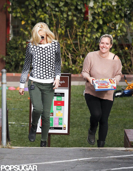 Gwen Stefani chatted with a friend while out in LA.
