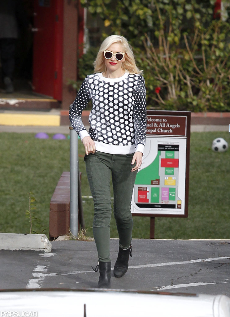 Gwen Stefani rocked a black-and-white polka-dot top with green pants in LA.