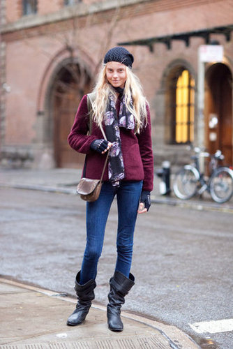 A touch of burgundy and a pair of slouchy boots make denim a little more eye-catching. Source: Adam Katz Sinding