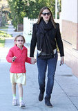 Jennifer Garner ran errands in LA wearing a boxy embroidered suede jacket, skinny jeans, and Isabel Marant wedge booties.