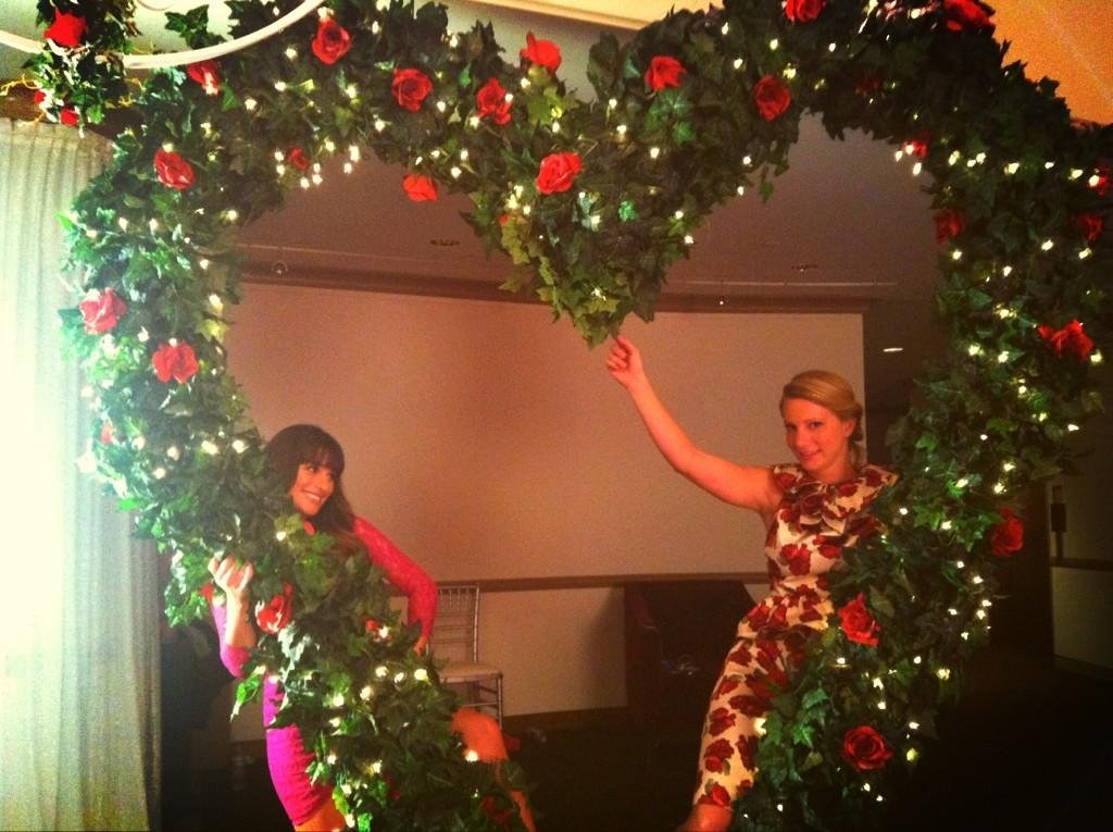 Lea Michele and Heather Morris showed some love on the set of Glee. Source: Twitter user msleamichele