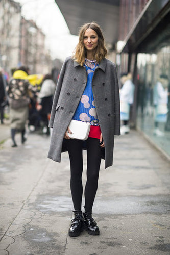 Whimsical print plays opposites against a pair of chunky creepers and a menswear-style coat. Source: Adam Katz Sinding