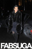 Kim Kardashian looked majorly luxe in a black fur coat and black suede over-the-knee boots during a night out in Paris.