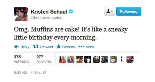 Kristen just discovered muffins are really cake.