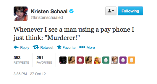 Kristen points out that only murderers use pay phones.