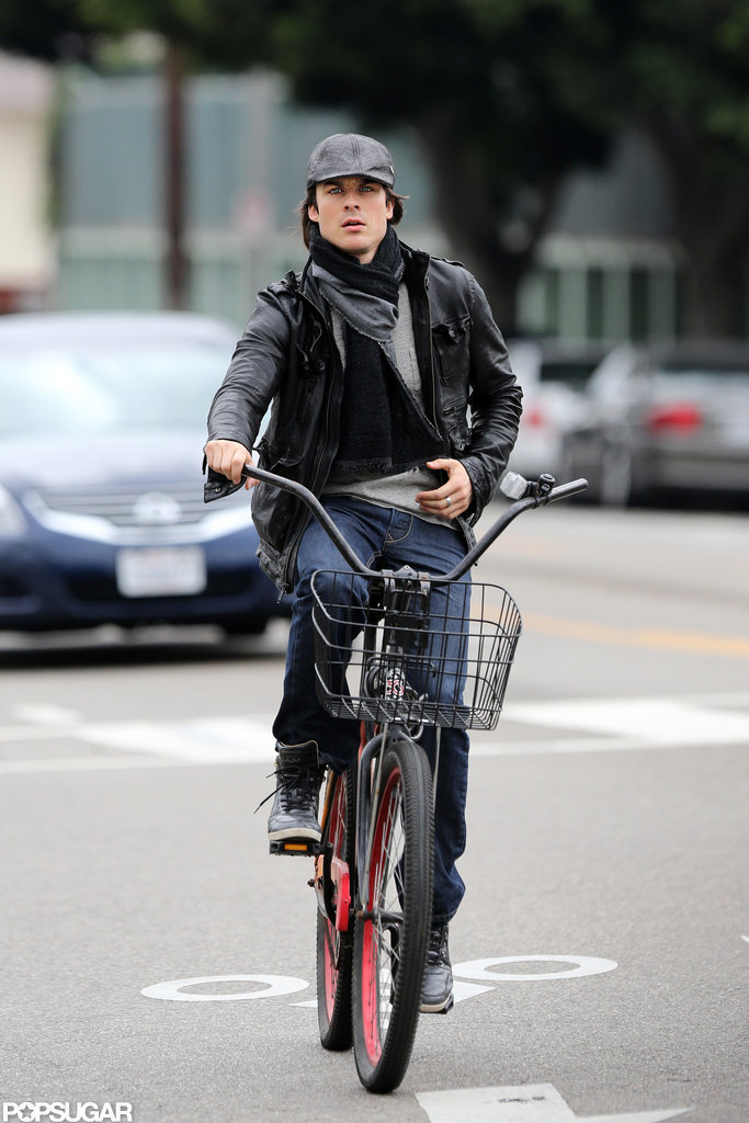 Ian Somerhalder rode his bike to a local nail salon to get a manicure.