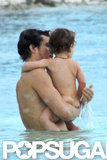 Orlando Bloom took Flynn for a swim.