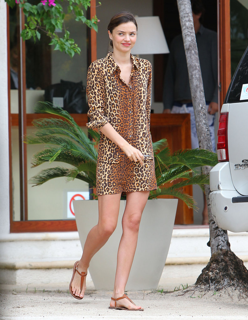 Miranda Kerr sported a leopard button-down during her beach vacation.