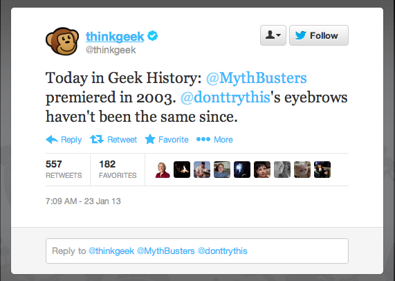 ThinkGeek celebrates 10 years of science entertainment on MythBusters. As for host Adam Savage's eyebrows, looks like they're still hanging on.