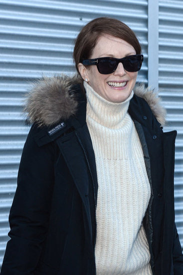 What Sundance look is complete without a fur-trim jacket and rockstar shades? We love Julianne Moore's cozy-chic pairing.
