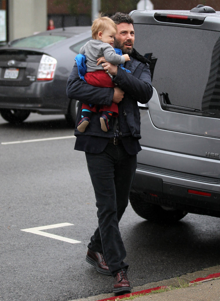 Ben Affleck carried his son, Samuel Affleck, to a karate class.