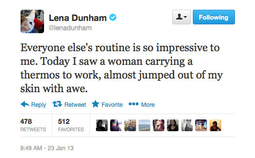 Things Lena Dunham admires: people who are prepared; tweeting.