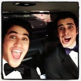 Darren Criss gave his Glee costar Joey Richter a ride to the SAG Awards. Source: Instagram user darrencriss