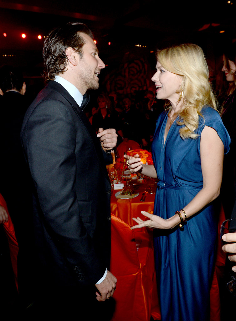 Bradley Cooper and Naomi Watts caught up at the Palm Springs International Film Festival Awards Gala in January.