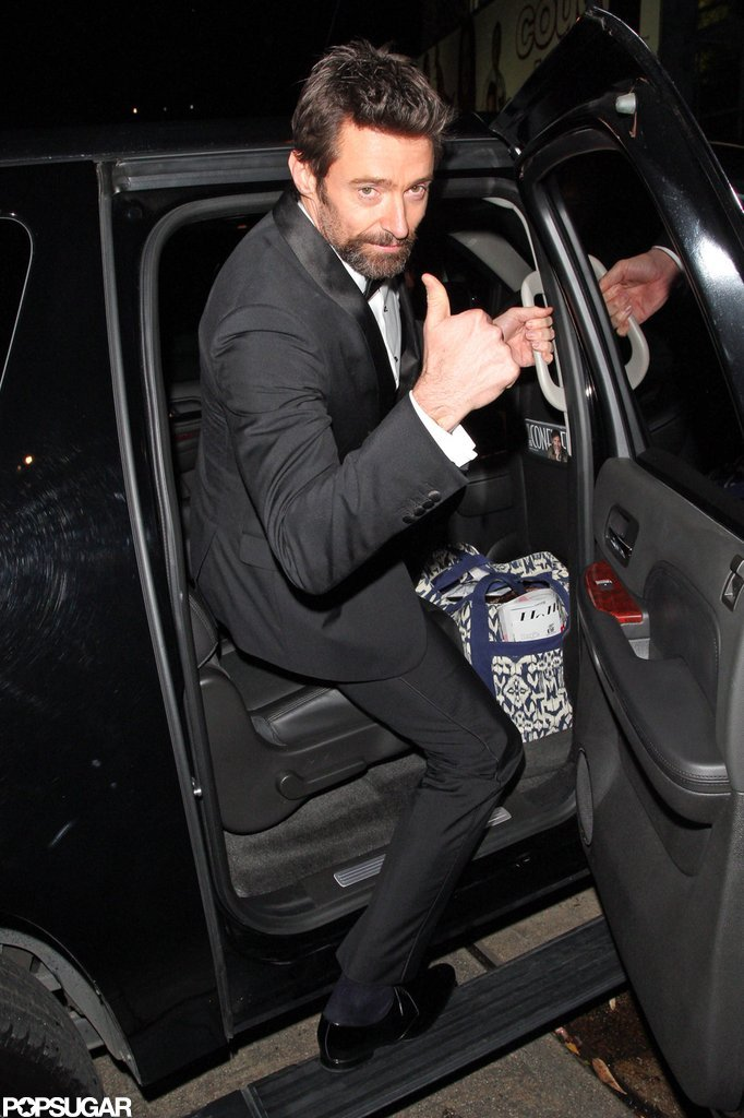 Hugh Jackman gave the thumbs-up to photographers as he left the Chateau Marmont after the SAGs.
