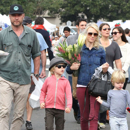 Naomi Watts and Liev Schreiber With Their Kids at the Market