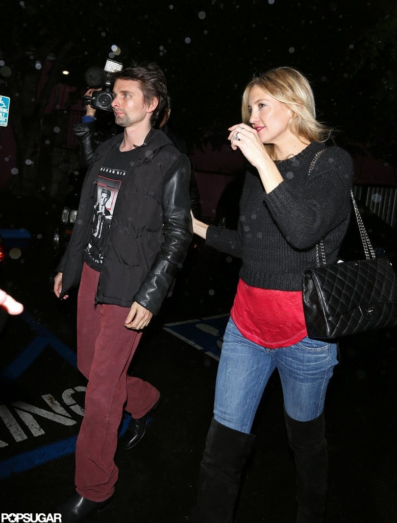 Kate Hudson held onto Matthew Bellamy as they left Pink Taco together in LA.