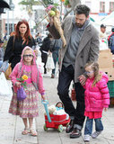 Ben Affleck picked up flowers at a farmers market with his daughters, Seraphina Affleck and Violet Affleck.