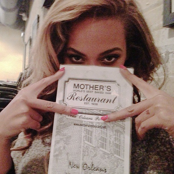 Beyoncé Knowles posted a picture of her eating at Mother's Restaurant in New Orleans. Source: Instagram user baddiebey