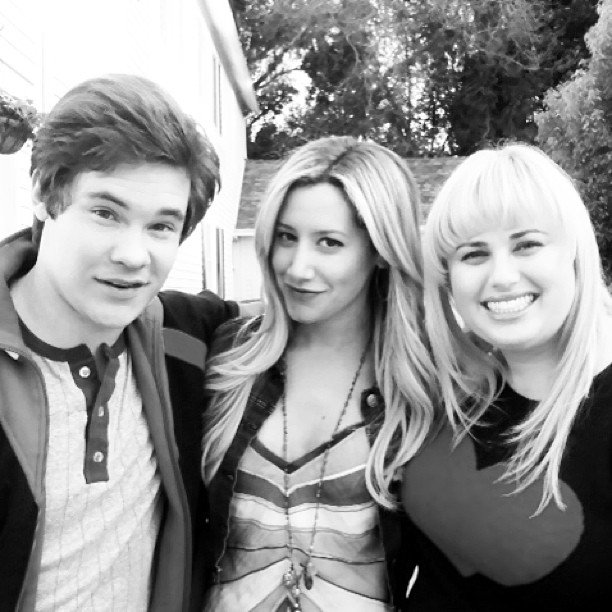 Ashley Tisdale shared an on-set photo with Adam DeVine and Rebel Wilson. Source: Twitter user ashleytisdale