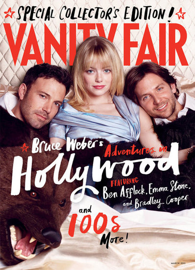 Emma Stone Poses Between Ben Affleck and Bradley Cooper in Vanity Fair