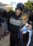 Ashton Kutcher and Brittany Murphy posed at the Cadillac Grand Prix party in 2003.